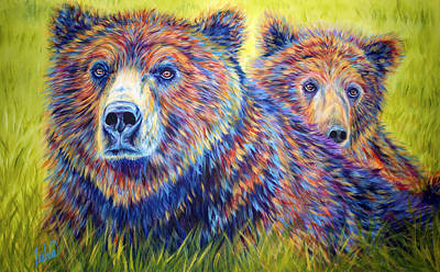Grizzly Bear Painting - Just The Two Of Us by Teshia Art