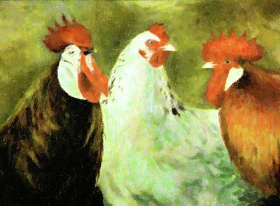 Homey Mixed Media - Just Us Roosters by Florene Welebny