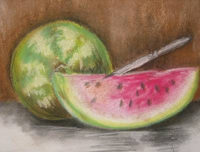 Art Print featuring the drawing Just Watermelon by Leslie Manley