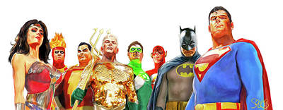 Comics Mixed Media - Justice League  by Mark Spears