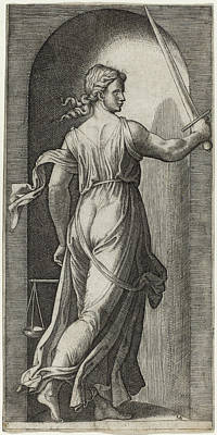 Drawing - Justice by Marcantonio Raimondi