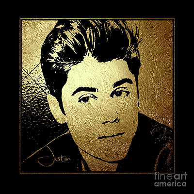 Justin Bieber In Gold Art Print by Wagner Povoa