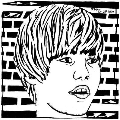 Frimer Drawing - Justin Bieber Maze Portrait by Yonatan Frimer Maze Artist