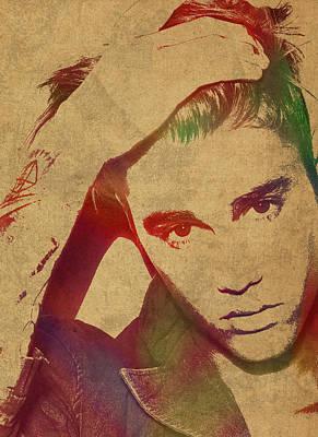 Bieber Mixed Media - Justin Bieber Watercolor Portrait by Design Turnpike