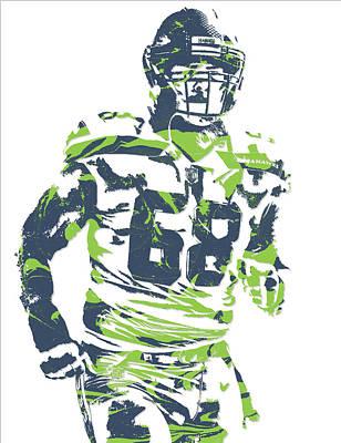 Justin Mixed Media - Justin Britt Seattle Seahawks Pixel Art 1 by Joe Hamilton