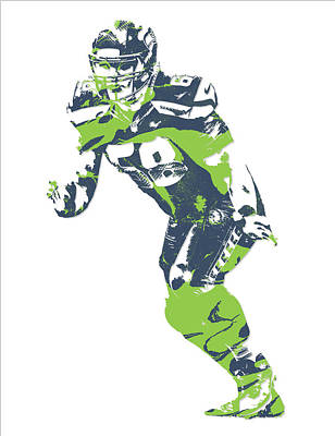 Seattle Mixed Media - Justin Britt Seattle Seahawks Pixel Art 2 by Joe Hamilton