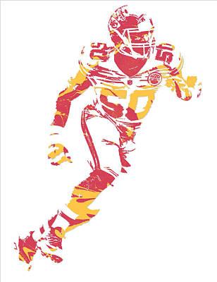 Justin Mixed Media - Justin Houston Kansas City Chiefs Pixel Art 5 by Joe Hamilton