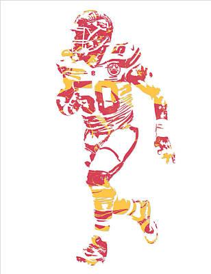 Justin Mixed Media - Justin Houston Kansas City Chiefs Pixel Art 6 by Joe Hamilton