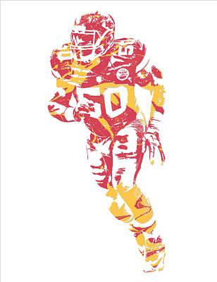 Justin Mixed Media - Justin Houston Kansas City Chiefs Pixel Art 7 by Joe Hamilton
