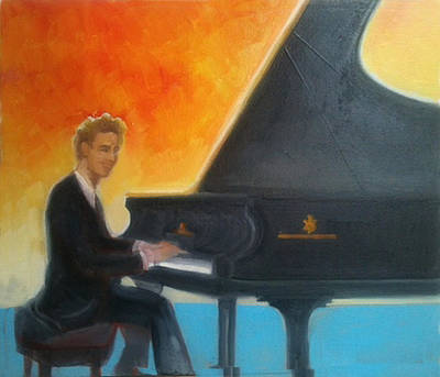 Painting - Justin Levitt At Piano Red Blue Yellow by Suzanne Cerny