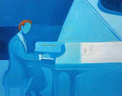 Painting - Justin Levitt Steinway Piano Blue by Suzanne Cerny