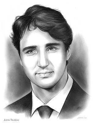 Canada Drawing - Justin Pierre James Trudeau by Greg Joens