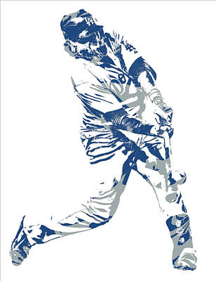 Los Angeles Dodgers Mixed Media - Justin Turner Los Angeles Dodgers Pixel Art 10 by Joe Hamilton