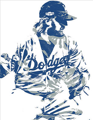 Mixed Media - Justin Turner Los Angeles Dodgers Pixel Art 15 by Joe Hamilton