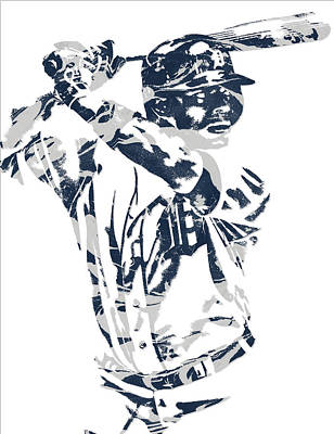 Detroit Tigers Art Mixed Media - Justin Upton Detroit Tigers Pixel Art 2 by Joe Hamilton
