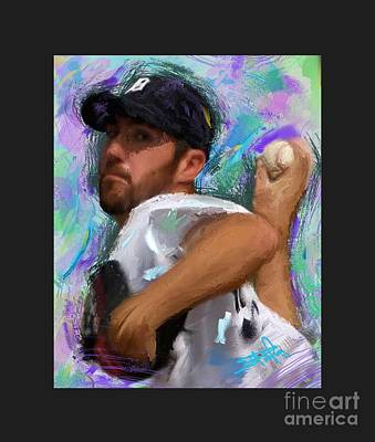 Detroit Tigers Painting - Justin Verlander Painted Mat by Donald Pavlica