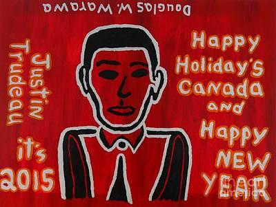 Self-portrait Mixed Media - Justin Trudeau Self Portait by Douglas W Warawa