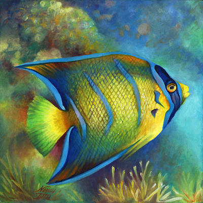 Juvenile Queen Angel Fish Art Print