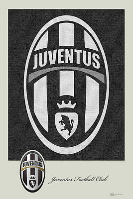Digital Art - Juventus F. C. - 3 D Badge Over Vintage Logo by Serge Averbukh
