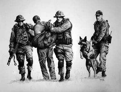 Police Dog Drawing - K-9 One In Custody by Duncan  Way