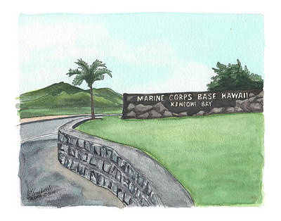 Military Base Painting - K-bay Welcome by Elizabeth Hackett