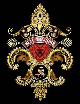 Doubloon Digital Art - K-fleur-de-lis New Orleans Transparent Back Pick Color by Bill Campitelle