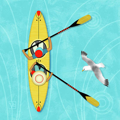 Boat Digital Art - K Is For Kayak And Kittiwake by Valerie Drake Lesiak