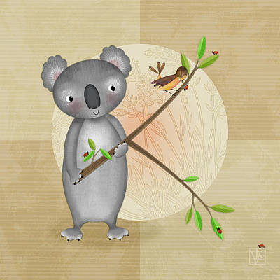 Koala Digital Art - K Is For Koala by Valerie Drake Lesiak
