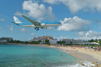 Photograph - K L M At St. Maarten Airport by David Gleeson