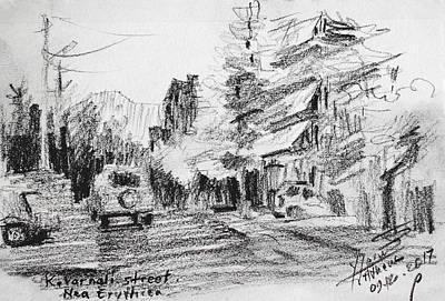 Buildings Drawing - K Varnali Street Nea Erythraia  by Ylli Haruni