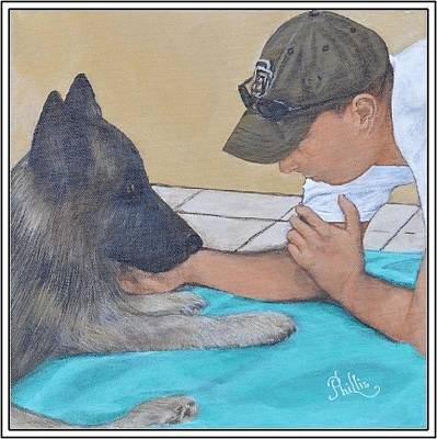 K9 Apollo With Officer Dustin Smith Original by D Phillis Cook