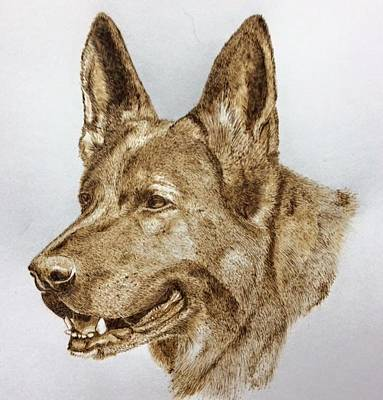 Pyrography Pyrography - K9 Officer  by Sue O'Sullivan