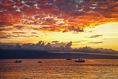 Sun Rays Photograph - Ka'anapali Sunset Fire by Marcia Colelli