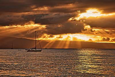 Sun Rays Photograph - Ka'anapali Sunset by Marcia Colelli