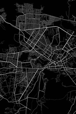 Afghanistan Digital Art - Kabul Afghanistan Dark Map by Jurq Studio