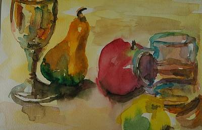 Painting - Kaddish Cup Pear And Apple by Rachel Rose