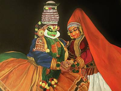 Complicated Painting - Kadhakali A Traditional Dance Form Of Kerala India by Anu Edasseri
