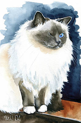 Painting - Kadife - Birman Cat Painting by Dora Hathazi Mendes