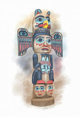 Totem Pole Painting - Kadjuk Bird Pole by David Wagner