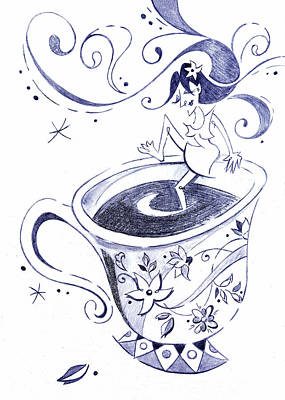 Kaffee - Arte Cafe - Coffee Cup Drawing Art Print