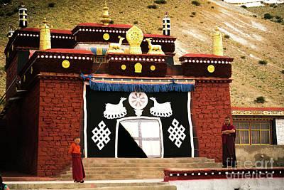Tibet Photograph - Monks And Buddhist Monastery Tibet Yantra.lv  by Raimond Klavins