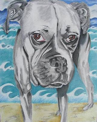Commission Boxer Painting - Kailey At The Beach by Michelle Hayden-Marsan