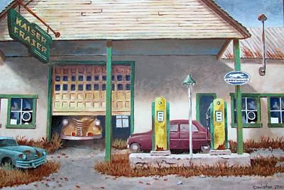 Painting - Kaiser Frazer Dealer, Shunk Pa. by Tony Caviston