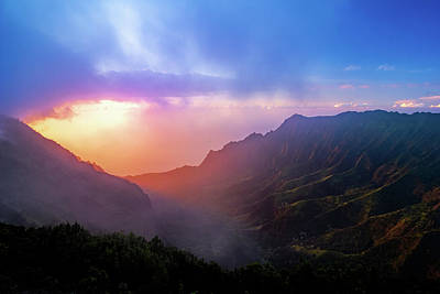 Photograph - Kalalau Valley Sunset by Josh Bryant