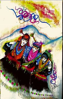 Kalash Painting - 'kalash Cultural Dance' by Syeda Ishrat