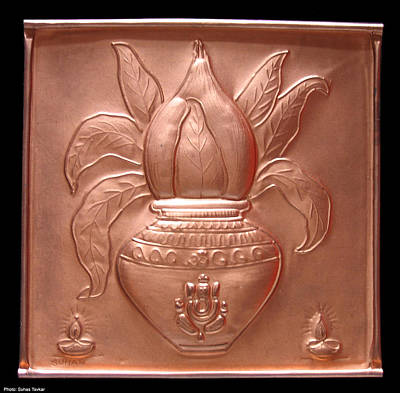Embossed Copper Relief - Kalash by Suhas Tavkar