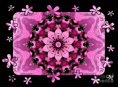 Kaleidoscope 1 With Black Flower Framing Art Print by Carol Groenen