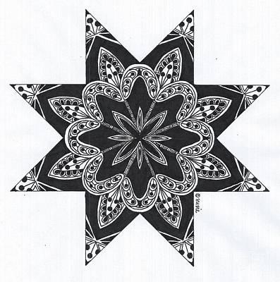 Kaleidoscope Drawing - Kaleidoscope Black And White Star 1 by Susan Timmins