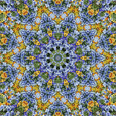 Manipulation Photograph - Kaleidoscope - Blue And Yellow by Nikolyn McDonald