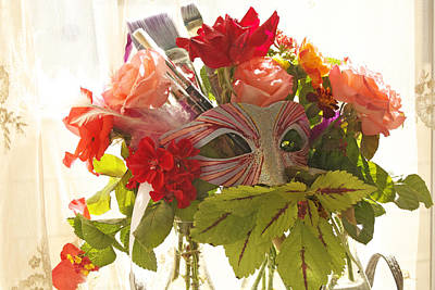 Photograph - Kaleidoscope Masquerade Mask  Bouquet by JoDee Luna